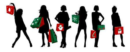 chicas de compras: ni�as de silueta de Navidad de compras