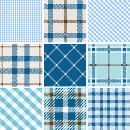 chequered backdrop: Set of plaid patterns