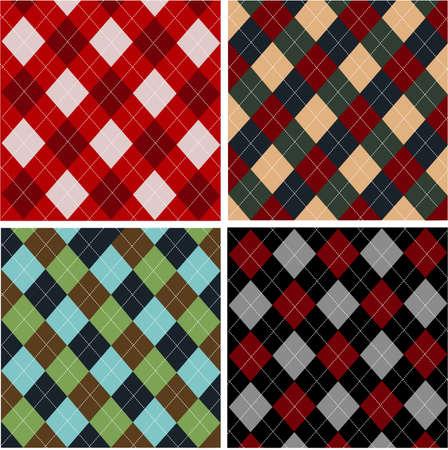 Set of plaid patterns, cottons Vector