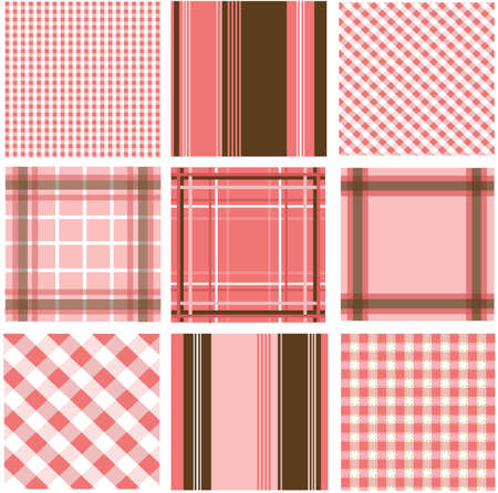chequered backdrop: seamless patterns with fabric texture Illustration