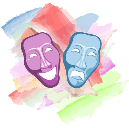comedy: theatre comedy and tragedy masks Illustration