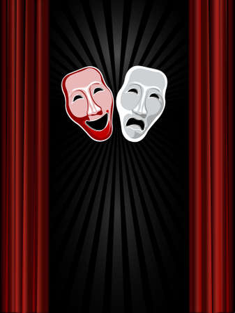 theatre comedy and tragedy masks and black background Vector