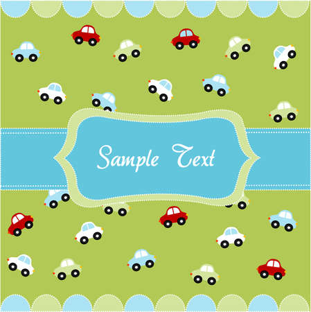 Leuk naadloos patroon met kleine auto's, babykaart