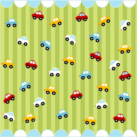 Cute seamless pattern with little cars , baby card Stock Vector - 8580551