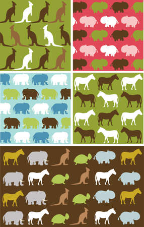 Seamless natural animal pattern, animal texture fabric set Vector