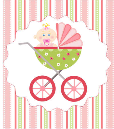 buggy: baby girl arrival Illustration