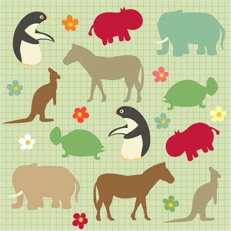 Bez szwu wzorzec dla dzieci, abstrakcyjna naturalnych deseń zwierząt Ilustracje wektorowe