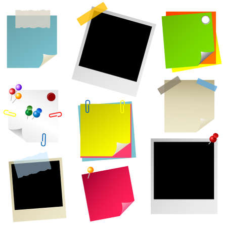 note, papier, sticker, postit, photo set Vector