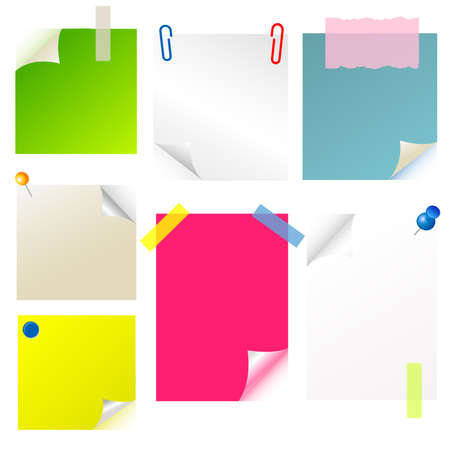 note, papier, sticker, postit set Vector