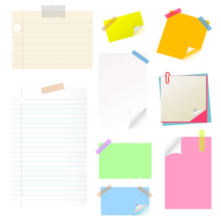 note, papies, sticker, postit set Vector