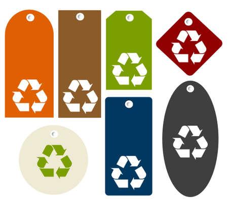 antipollution:  reciclar las etiquetas Vectores