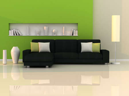 green living: Interior of the modern room, green wall and black sofa