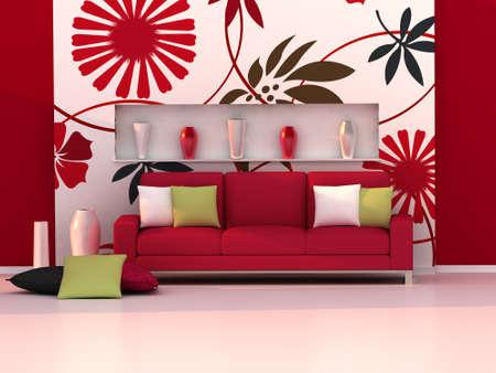 sofa rojo: Interior de la habitación moderna, la pared floral y el sofá rojo