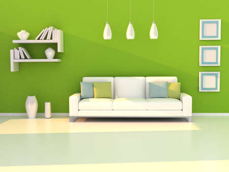green living: Interior of the modern room, green wall and white sofa