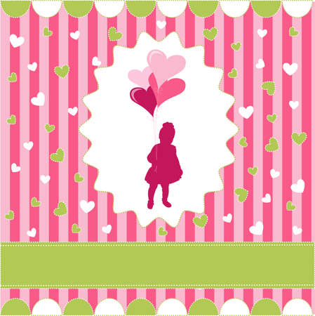 girl with balloon, pink wallpaper Vector