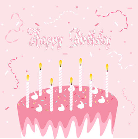torte: Happy birthday greeting card, pink background