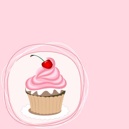 cupcake illustration: Pink cupcake on the pink background