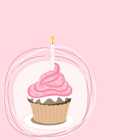 Pink cupcake on the pink background Vector