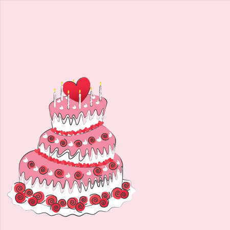 wedding cake, valentines day  Vector