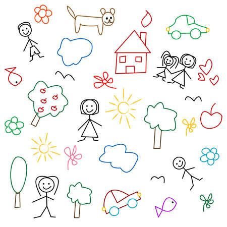 Childrens drawing - seamless pattern Vector