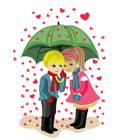 valentine's day, girl and boy Vector Illustration