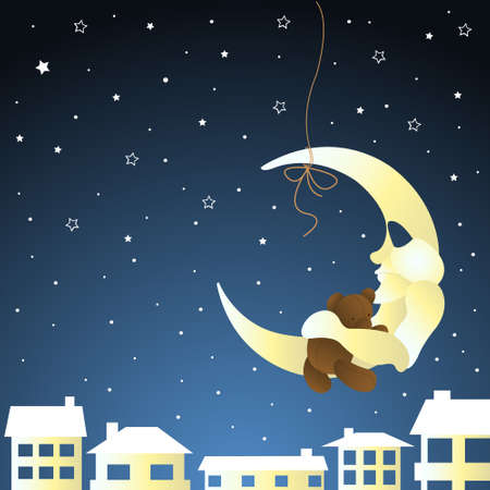 moon and teddy, baby greeting card Vector