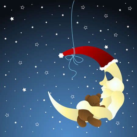 napping: moon and teddy, baby greeting card