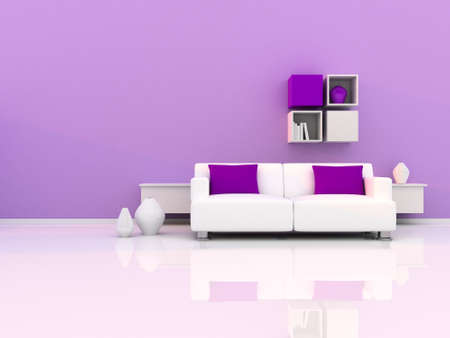 Interior of the modern room, purple wall and white sofa Stock Photo - 8921206