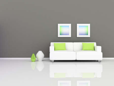 green couch: rior of the modern room, grey wall and white sofa