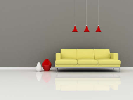 Interior of the modern room, grey wall and yellow sofa photo