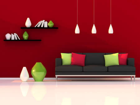 Interior of the modern room, red wall and black sofa photo