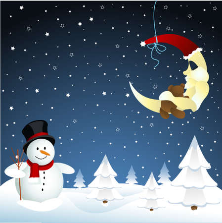 on and snowman, winter Stock Vector - 8921242