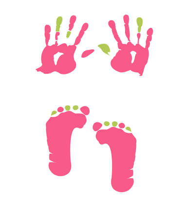 girls feet: footprint and handprint