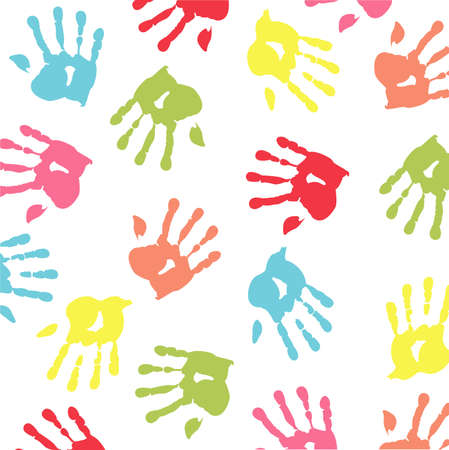 colorful handprint Stock Vector - 8921233