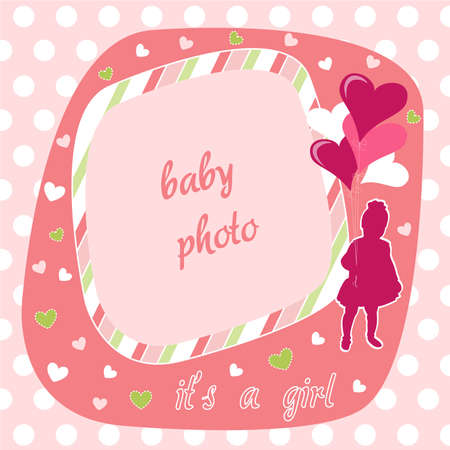 baby girl photo frame Vector