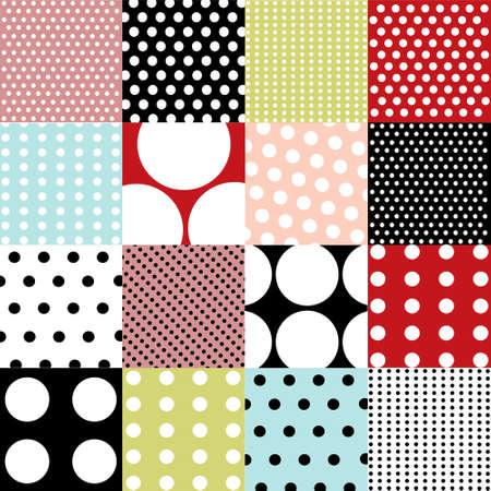 twirls: seamless patterns, polka dot set Illustration