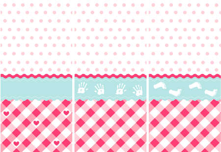 seamless baby girl pattern, pink wallpaper set Vector