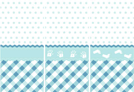 seamless baby boy pattern, blue wallpaper set Vector