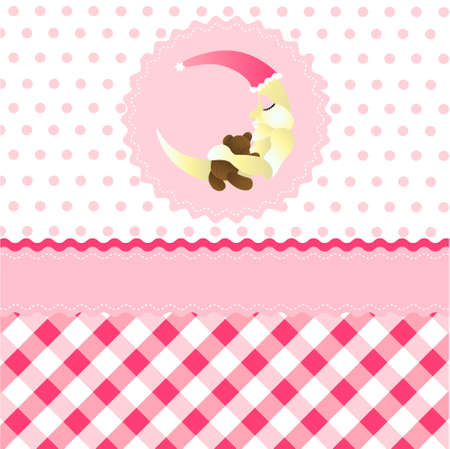 seamless baby girl pattern, pink cartoon moon wallpaper Vector