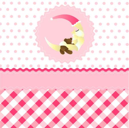 seamless baby girl pattern, pink cartoon moon wallpaper Stock Vector - 9099449