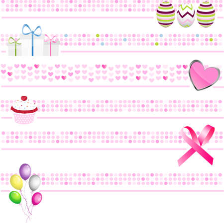 pink banners collection Vector