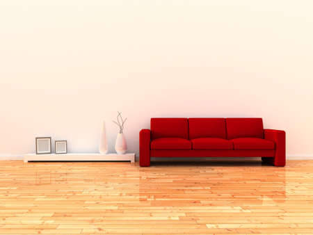 Interior of the modern room, white wall and red sofa photo