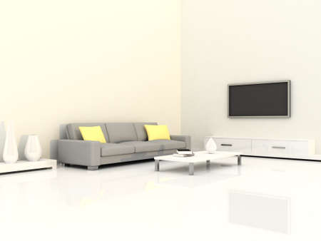 Interior of the modern room, white wall and grey sofa Stock Photo - 9204098