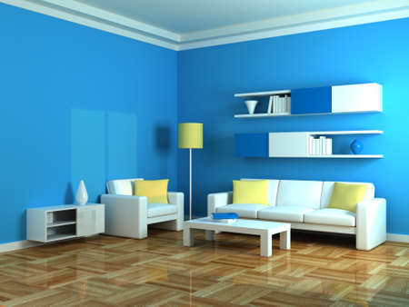 Interior of the modern room, blue wall and white sofa Stock Photo