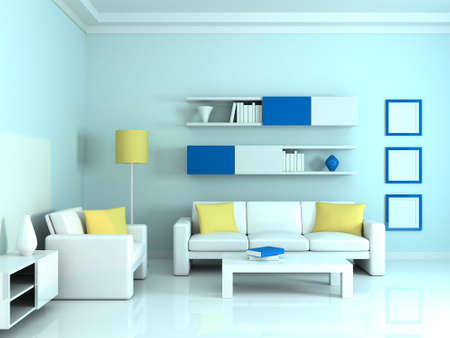 Interior of the modern room, blue wall and two white sofa photo