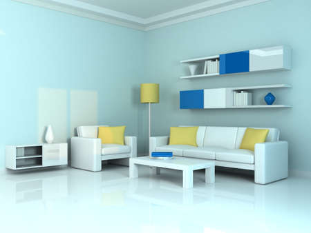 Interior of the modern room, blue wall and two white sofa