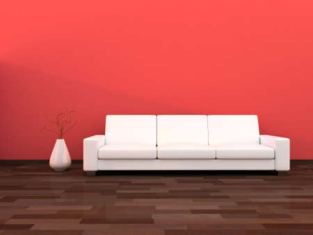 Interior of the modern room,light red wall and white sofa photo