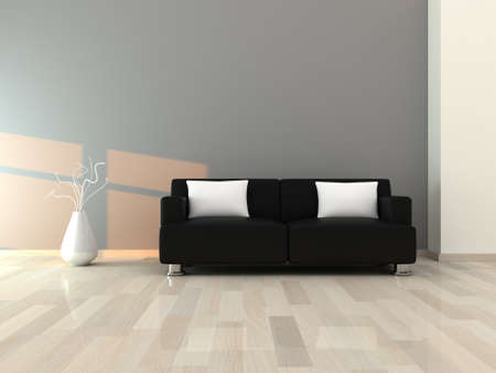 Interior of the modern room, grey wall and black sofa photo