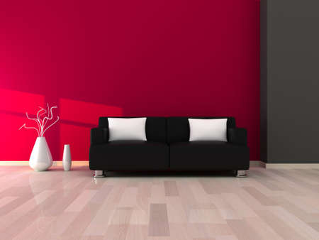 Interior of the modern room, grey and pink wall and black sofa Stock Photo - 9204067