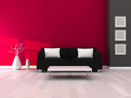 Interior of the modern room, grey and pink wall and black sofa photo